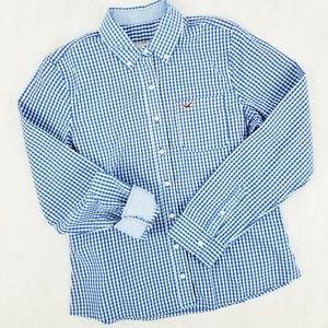 Womens HOLLISTER Blue and White Checkered Shirt jr